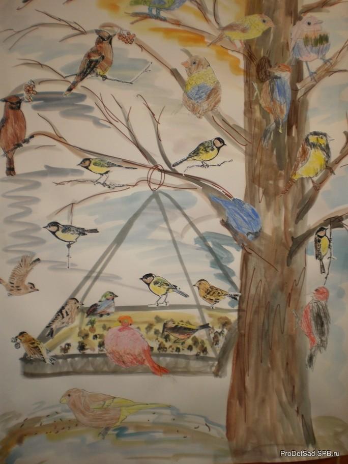 Птицы на кормушке рисунок