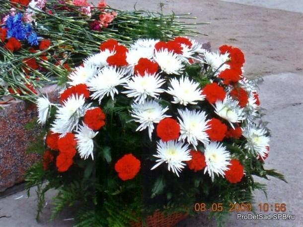 Цветы у памятника на проспекте Ветеранов