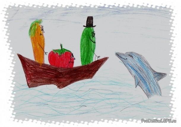 овощи и дельфин