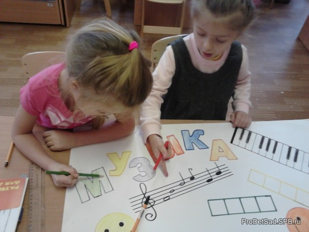 дети рисуют плакат