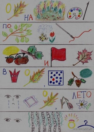 Осень на опушке краски разводила - стихотворение - мнемотехника с дошкольниками