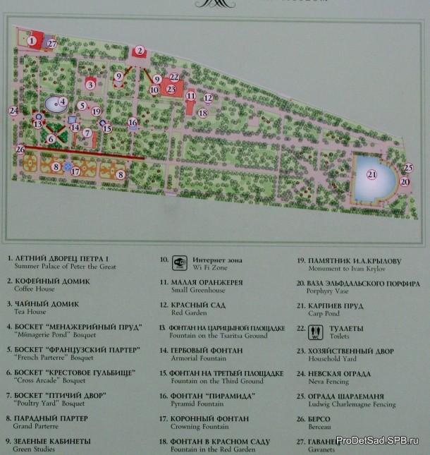 Карта Летнего сада