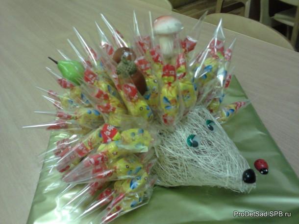Ёжик из конфет
