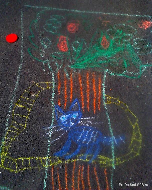 Рисунок на асфальте - кот ученый