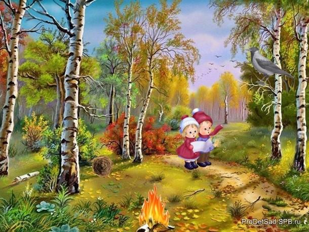Ворона и дети в лесу разговаривают